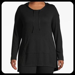 Lane Bryant Active Hooded High-Low Long Sleeve Top